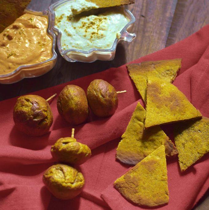 Pumpkin Tortilla Chips: with waterchestnut flour and buckwheat flour