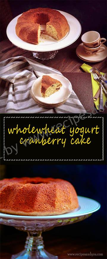 wholewheat yogurt cranberry cake