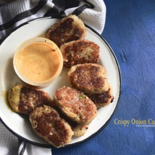 Crispy Onion Cutlets with mustard chili Dip