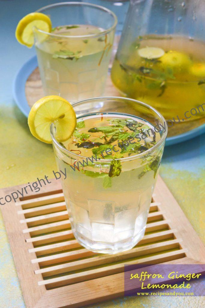 Royal Saffron ginger mint Lemonade-How to make saffron ginger mint lemonade