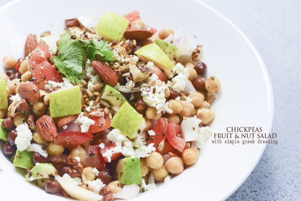 Chickpeas fruit 'n' nut salad with simple Greek dressing