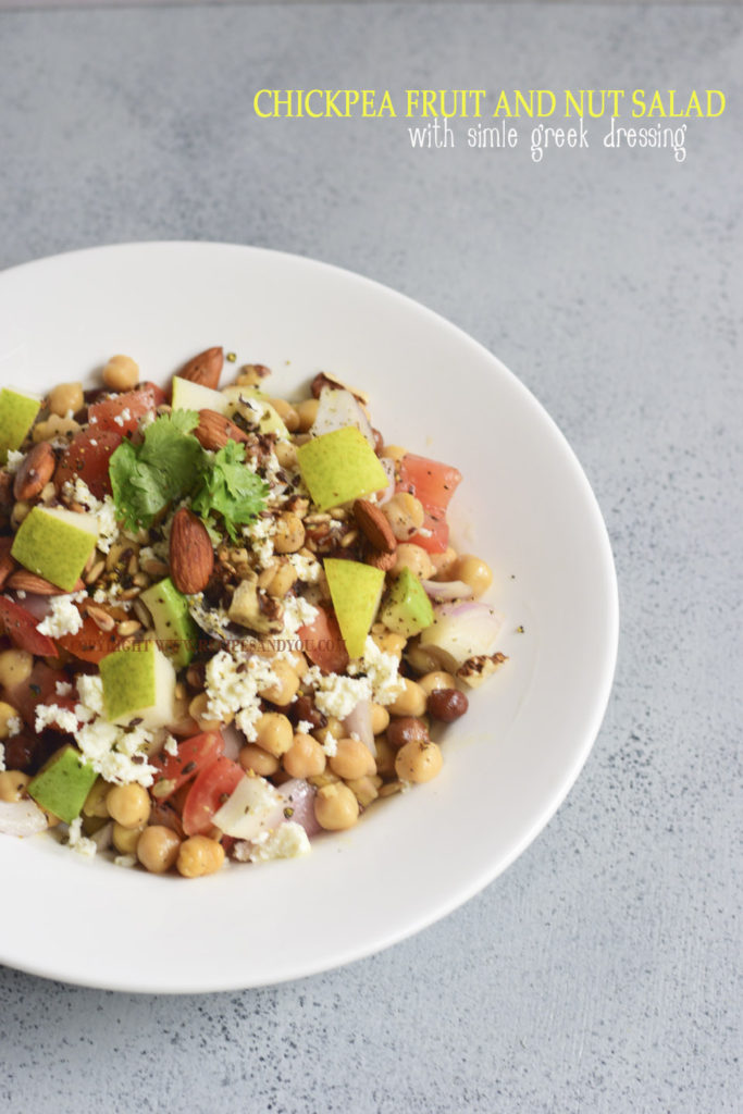 chickpea fruit and nut salad with greek dressing