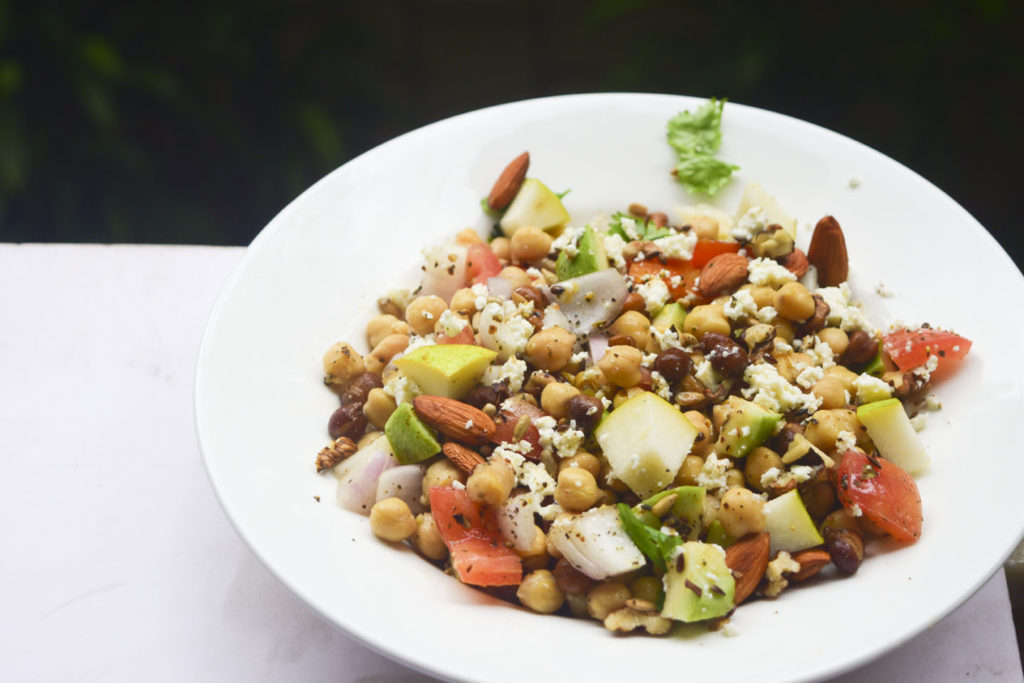 chickpeas fruit and nut salad
