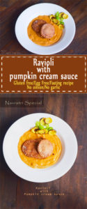 Ravioli with pumpkin cream sauce