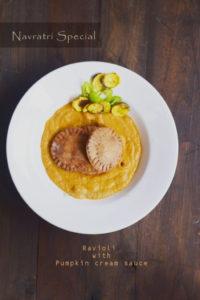 Ravioli with pumpkin cream sauce