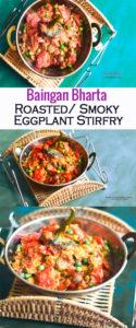 baingan bharta , roasted eggplant stir fry